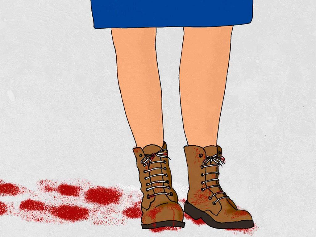 """Ilustración conceptual sobre la entrevista """"Mi especialidad es hablar con criminales de guerra y disfruto con ello"""" a Cynthia Petrigh en El País"""