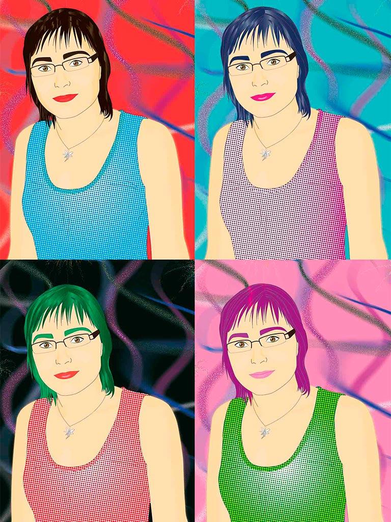 Ilustración Retrato estilo Warhol Pop Art  Noa Design